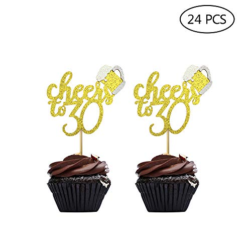 (24 Pcs Gold Glitter Cheers To 30 Cake Cupcake Toppers for Happy 30th Birthday Party Decorations)