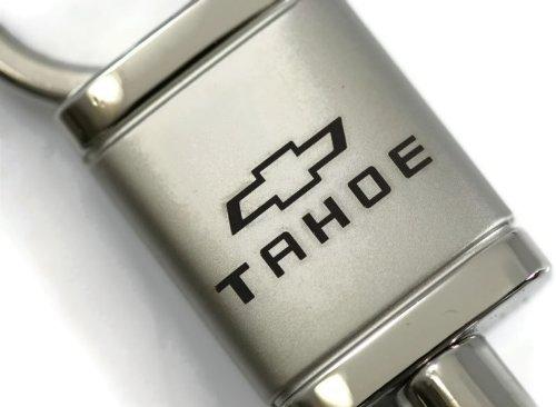 Cadillac Tahoe Satin-Chrome Valet Key Fob Authentic Logo Key Chain Key Ring Keychain Lanyard