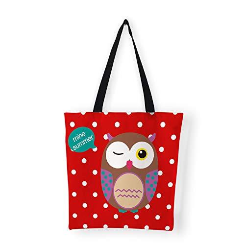 Women Bag Cute Cartoon Owl Print Canvas Bags Reusable Shopping Bag,A1]()