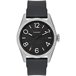 Tsovet Men's Silver w/ Black Dial, Black Leather Band Watch JPT-NT42 (NT111040-45)