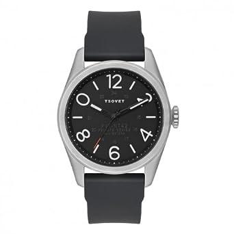 Tsovet Herren Silber W-schwarz Zifferblatt - schwarz Leder Band Armbanduhr jpt-nt42 (nt111040–45)