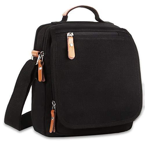 (Ibagbar Durable Vintage Multifunction Canvas Shoulder Bag Business Messenger Bag Ipad Bag Tote Bag Satchel Bag for Men and Women Black)