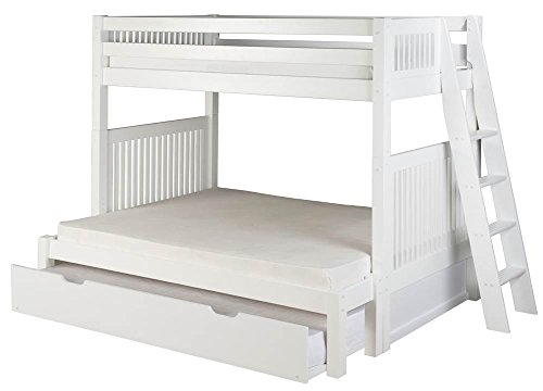 Camaflexi Mission Style Solid Wood Bunk Bed with Trundle, Twin-Over-Full, End Angled Ladder, White