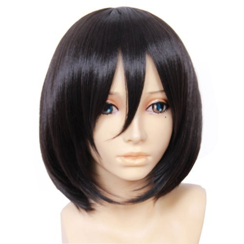 Attack on Titan Mikasa Ackerman Anime Black Bob Short Wig Cosplay (Mikasa Ackerman Costume)