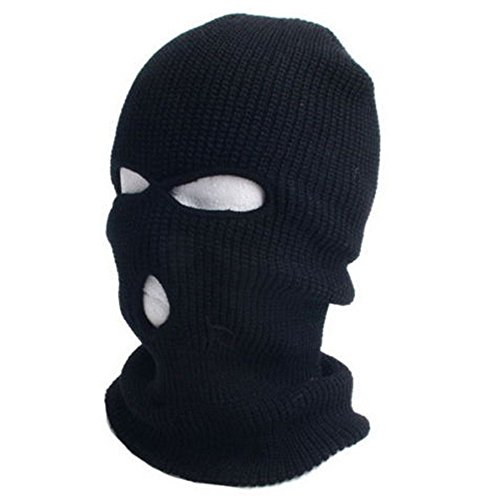 [3 Hole Knitted Face Mask Balaclava Hat Ski Army Stocking Winter Cap Beanie Hood] (Deluxe Smoke Mask)