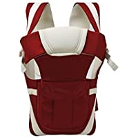HOLME'S Adjustable Hands-free 4-in-1 Polyester Baby Carrier Bag with Comfy Head Support and Buckle Straps (Cherry Red)