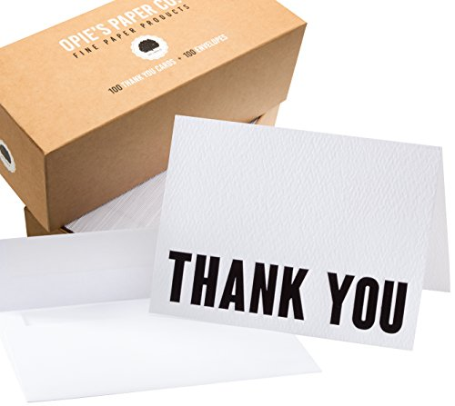 100 Letterpress Thank You Cards and Self Seal Envelopes - Opie's Paper Company