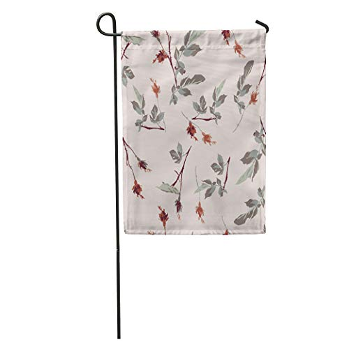 (Semtomn Garden Flag Green Flower Romantic Leafy Rosebud Pattern Cream Off Red Liberty Home Yard House Decor Barnner Outdoor Stand 28x40 Inches Flag)