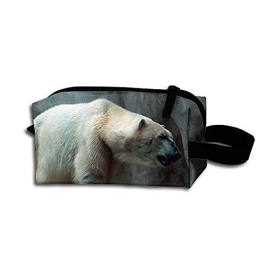 Clash Durable Zipper Wallet Makeup Handbag With Wrist Band Cave Polar Bear Toiletry Bag -