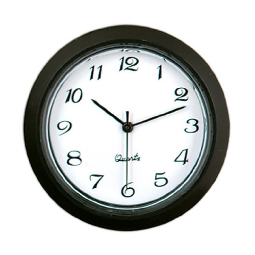 "1-7/16"" White Arabic Clock Insert with Black Bezel"