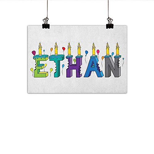 Littletonhome Ethan Modern Oil Paintings Celebration Themed Candles and Bitten Cake Popular Male Name Birthday Party Image Canvas Wall Art 35