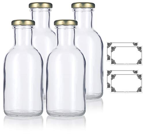 Label Bottle Oz 12 (12oz Clear Glass Decanter Sauce Bottles with Gold Metal Lug Caps (4 pack) + Labels for Juice, Sauce, Dressings, and Marinades)