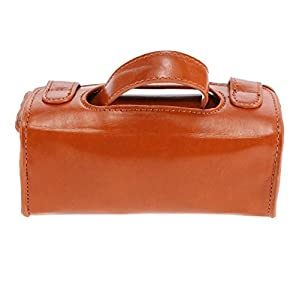 Men PU Leather Travel Toiletry Bag Shaving Wash Case Organizer Bag Dark Brown for Protect Shaver Shaving Container Gift