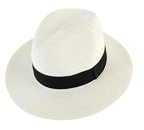 (Lanzom Men Wide Brim Straw Foldable Roll up Hat Fedora Summer Beach Sun Hat UPF50+ (Style A-Ivory White, Medium Size:Fit for 22.5