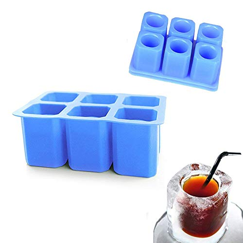 DiDaDi [2 Pack]Silicone Ice Shot Glass Mold,6-cups Square Blue Ice Cube Tray,Jelly Tray ,Cake Cup Mold ,Food Grade Silicone Ice Shot-Blue -