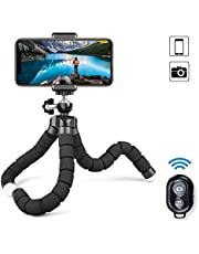 Phone Tripod, Camera Flexible Tripod with Bluetooth Remote and Universal Clip, 360° Adjustable Mini Travel Tripod Portable Camera Stand Holder for iPhone Android GoPro Selfie SLR Sports Camera (Save on Shipping)