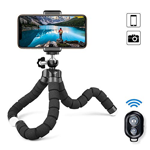 MAEXUS Camera Flexible Tripod, Phone Tripod with Bluetooth Remote and Universal Clip, 360° Adjustable Mini Travel Tripod Portable Camera Stand Holder for Android Selfie SLR Sports Camera