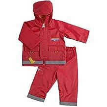 Kushies Hooded Rain Jacket And Pant Set, Cherry, 6 12 Months