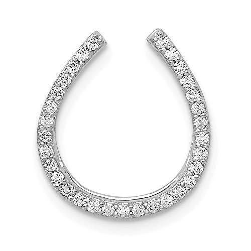 14k White Gold 1/6-Carat Diamond Horseshoe Slide Pendant Chain Slide Pendant from Roy Rose - Pendant Horseshoe Slide