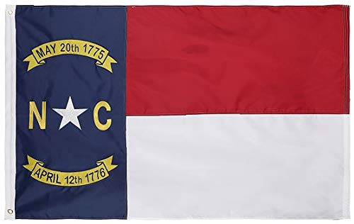State 3x5 Feet Nylon Flag - Embroidered Oxford 210D Heavy Duty Nylon, Durable and Long Lasting - 4 Stitch Hemming. Vivid Colors & Fade Resistant. 3x5 Foot (North Carolina)