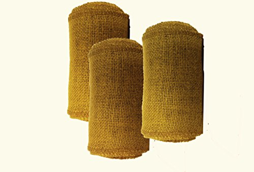 AAYU Brand Premium 3 Pack Burlap Ribbon Roll (Wide) | 5 inch x 5 Yards Each | No Fray | Eco-Friendly, Natural Jute Burlap