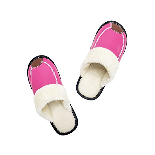 Men House Rose Skid Cozy Women's Indoor amp;Outdoor Memory Slipper Slippers Lined Fluffy Faux Anti HRFEER Red Fur Foam xwfYWgBqW1