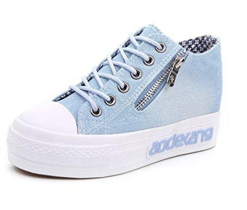 Vecjunia Kvinna Spets-up Låg Topp Canvas Kil Sneakers Ljusblå