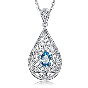 Carleen 0.82 Carats Blue Topaz Pendant Necklace Sterling Silver Women Necklaces