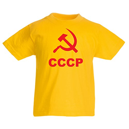 (lepni.me Kids T-Shirt USSR СССР Soviet Union Sickle and Hammer (1-2 Years Yellow Red))