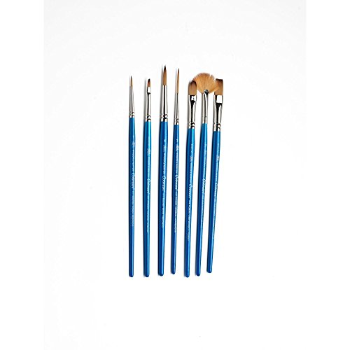 "Winsor & Newton Cotman Short Handle Brush (7 Pack) (Round 1 & 6, Rigger 2, Filbert 1/4"", One Stroke 3/8"", Angled 1/8"", Fan 2)"
