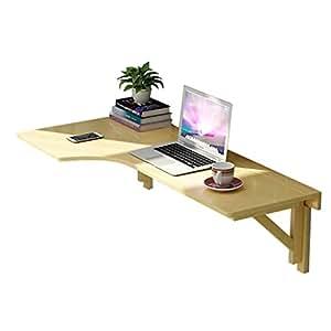 FEI Teng L-Shaped Kitchen Racks Desk Solid Wood Corner Folding Wall-Mounted Computer Desk ++ (Size : R-120 * 60cm)