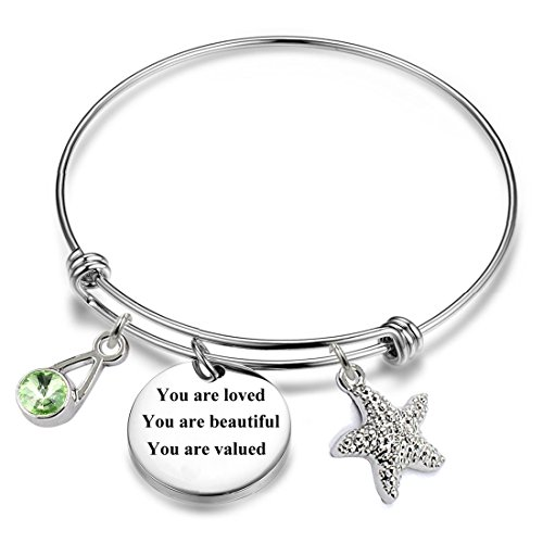 - 12 Months Birthstones Positive Inspirational Birthday Gifts Charm Bracelets. (August-You are loved You are beautiful You are valued)