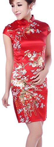 Chinese Dress (Blingland Flower Dress Cheongsam Embroidery Qipao Dress for Women)