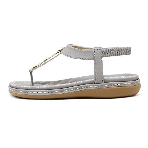 Gray Piatte Sandali QXXC 23 26 Scarpe Brillante Scarpe Strass Primo Toe Infradito Da KJJDE Spiaggia 36 Boemia Clip PUqwa