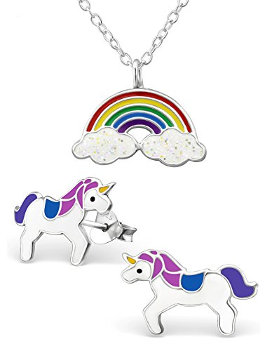 Best Wing Jewelry .925 Sterling Silver ''Rainbow and Unicorn'' Set Necklace and Stud Earrings for Children and Teens by Best Wing Children's Earrings (Image #4)