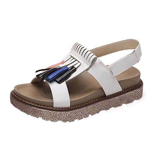 LHWY Sandalen Damen Sommer Frauen Quaste Plateauschuhe Lässige Anlässe Bequeme Velcro Thicken Muffin Sandals Rutschfest Weiß Braun