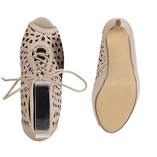 Outs Damen Agueda Plateau Heels Sandaletten High Stiefelparadies Stiletto Schuhe Creme Cut Flandell UORxq4HHw