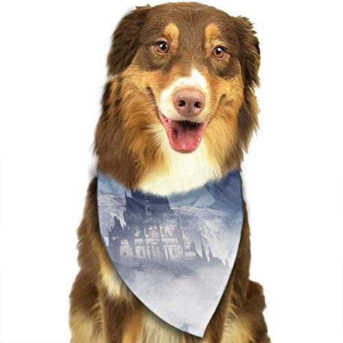 Pet Scarf Dog Bandana Bibs Triangle Head Scarfs Mysterious White Castle Accessories for Cats Baby Puppy -