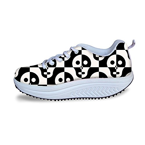 Mesh Skull 2 Ups Women Platform Fitness Shape Sneakers Fashion Skull HUGSIDEA for ZgF6n