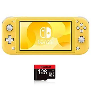"Nintendo 2020 Switch Lite Console Family Christmas Holiday Bundle - Yellow, 5.5"" Touchscreen Display, Built-in Plus Control Pad, Speakers, WiFi, Bluetooth 4.1, NexiGo 128GB MicroSD Card Bundle"