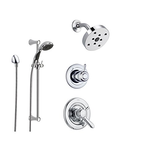 Delta Lahara Chrome Shower System with Dual Control Shower Handle, 3-setting Diverter, Modern Round Showerhead, and Handheld Shower SS173885