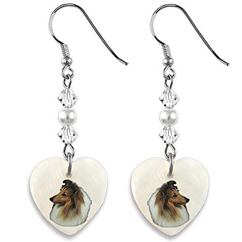 Timest - Sheltie Shetland Sheepdog - Mother Of Pearl Heart Earrings - Watch Sheltie