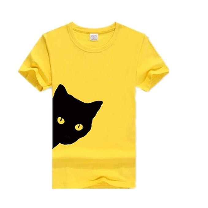Camiseta de Gato Mirando hacia Fuera Impresión Lateral Tallas ...