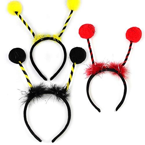 3Pcs Elf Alien Bee Ant Antennas Fur Ball Headband Set Cosplay Costume Party Accessory for Women Girls Kids -