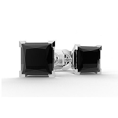 Boucles d'oreilles diamant noir 0,50carats or blanc 14ct Coupe Princesse v-prong