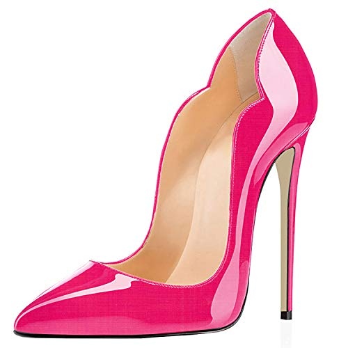 Bout Synthétique escarpins Elashe Fermé 12cm Aiguille Stiletto Pointu Rose Femmes Talon Brillant r8Idgrqx