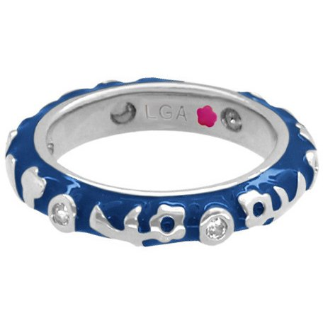 - Lauren G Adams Rhodium-Plated Stackable Desire Ring with Navy Blue Enamel