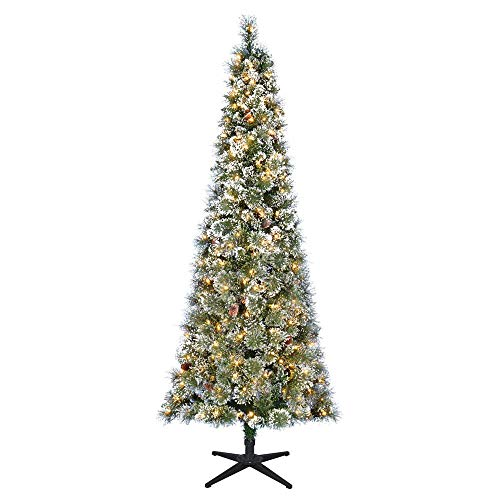 Home Accents Holiday 7 ft. Pre-Lit LED Sparkling Pine Slim Artificial Christmas Tree with 300 Warm White Lights