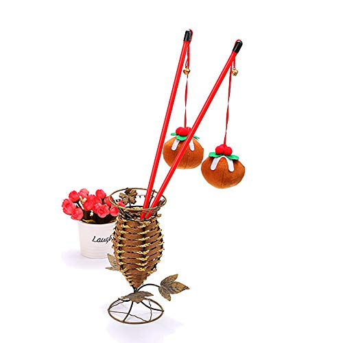 Sgyhair Cat Toy Christmas Series Color Plums Funny Cat Sticks with Copper Bells Pet Toys 2 Packs. (Color : Red) ()