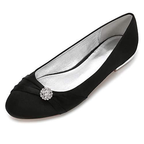 Zxstz in Scarpe piatto Punta sposa donna strass rotonda Ballerina nero con fiore da da Scarpe raso Satin Comfort Tacco aarxvqwd1